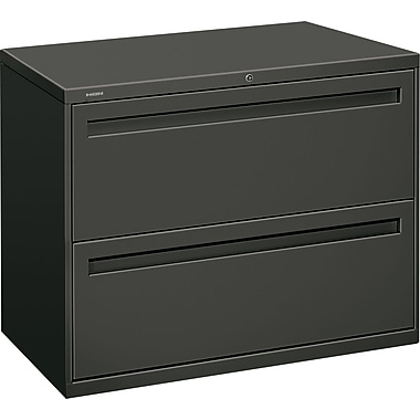 HON Brigade 700 Series Lateral File Cabinet, 36in. Wide, 2-Drawer, Charcoal