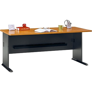 Bush Cubix 72in. Desk, Natural Cherry/Slate Gray, Fully assembled