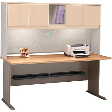 Bush Cubix 72in. Desk, Danish Oak/Sage, Fully assembled