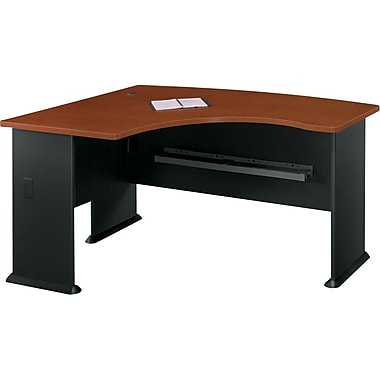 Bush Cubix Left L-Bow Desk, Hansen Cherry/Galaxy, Fully assembled