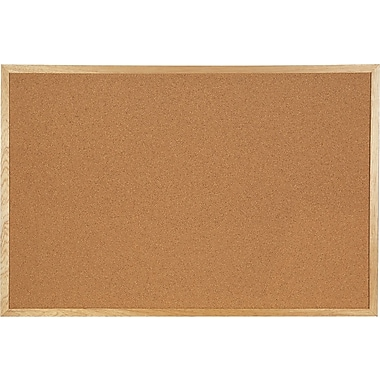 Staples® Economy Bulletin Board with Oak Frame