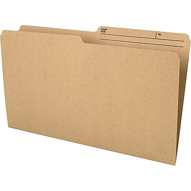 Staples® Recycled File Folder, 1/2-Cut, Legal Size, 10-1/2 pt., Natural Sand