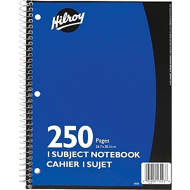 Hilroy - Cahier de notes à 1 sujet, 10 1/2 po x 8 po, 250 pages