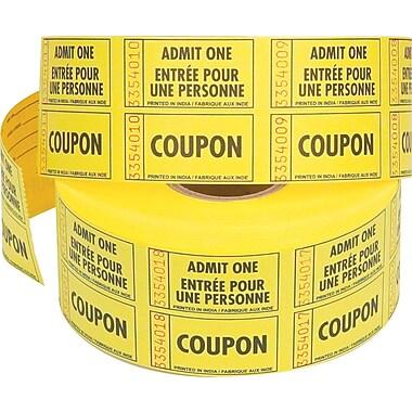 Rouleaux de billets « Admit One » avec coupon, roul./1000