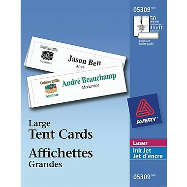 Averyr printable tent cards large 3 1 2quot x 11quot 05309 for Tent cards staples