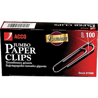 Acco® Premium Quality Jumbo Paper Clips, Smooth, 100/Pack