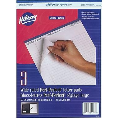 Hilroy - Bloc-notes avec perforations, 8-1/2 po x 11 po, réglage large, blanc, 50 feuilles, paq./3