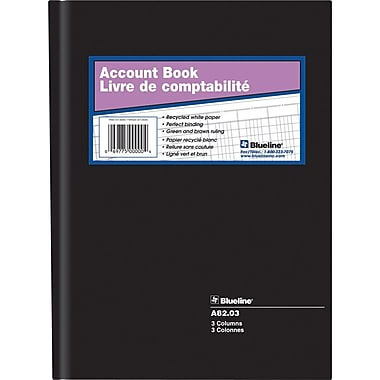Blueline® A82 Account Book, A82-03, 3 Columns
