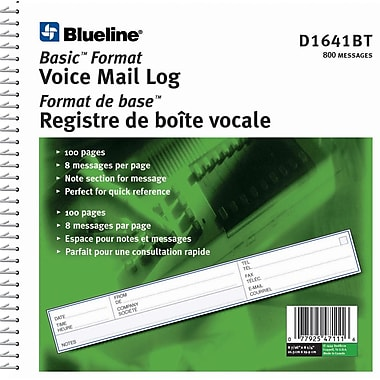 Blueline® - Registre de boîte vocale, 8-7/16 po x 8-1/4 po, 800 messages, bilingue
