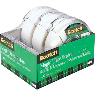 Scotch™ Magic Tape with Dispenser, 19 mm x 32.9 m, 3/Pack