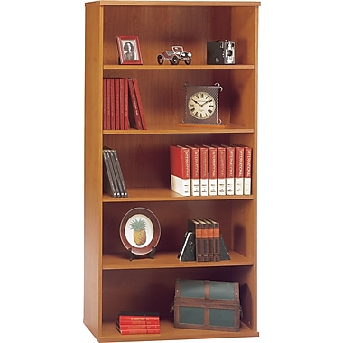 Bush Westfield 5-Shelf Bookcase, Natural Cherry and Graphite Gray