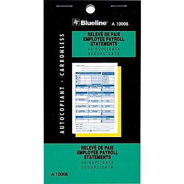 Blueline® Statement Books, A1000B, Duplicate Payroll Statements, Bilingual