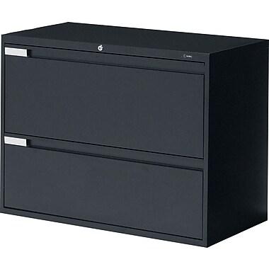 Global® - Classeur latéral de série 9100 Plus, 2 tiroirs, noir