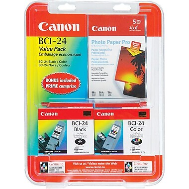 Canon® BCI-24 Black and Colour Ink Cartridges, Value Pack (6881A042)