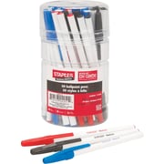 Staples® Stick Ballpoint Pens, 1.0mm, Assorted, 50/Pack