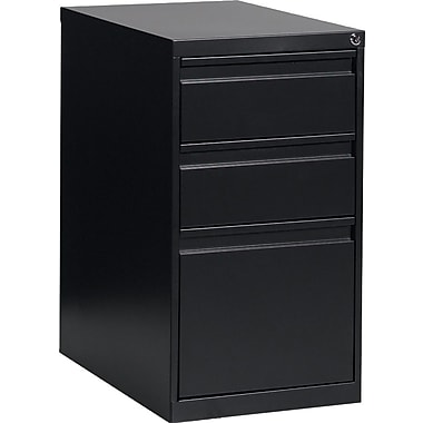 Global® Box/Box/File Pedestal, 3-Drawer, Black