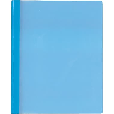 Staples® 3-Tang Trans-Front Poly Report Covers, Blue, 5/Pack