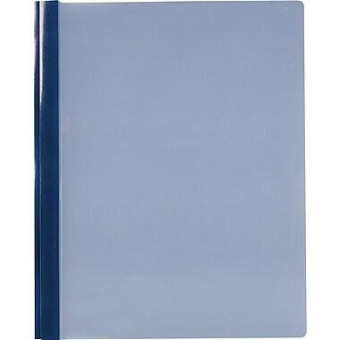 Staples® - Couvertures de rapport à 3 crampons au devant transparent, bleu foncé, paq./5