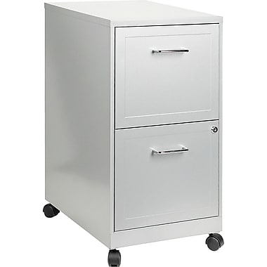 Hirsh 2-Drawer Vertical, Letter, Mobile File Cart, Metallic Silver