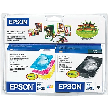Epson® – Cartouches d'encre noire et couleur T044120, paquet assorti