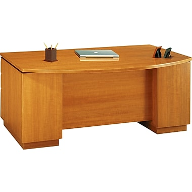 Bush Milano2 72in.W Double Pedestal Bow Front Desk (F/F, B/B/F), Golden Anigre