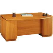 Bush Milano2 72W Double Pedestal Bow Front Desk (F/F, B/B/F), Golden Anigre, Fully Assembled