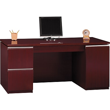 Bush Milano2 66in.W Double Ped Kneespace Credenza, Harvest Cherry, Installed