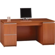 Bush Milano2 66''W Double Pedestal Credenza, Golden Anigre, Fully Assembled