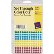 "Round 1/4"" Diameter See-Through Labels, Assorted Colors"