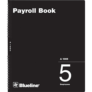 Blueline® Payroll Books, A1005, 5-Employee