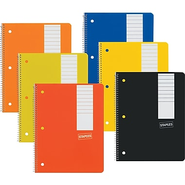 Staples 1 Subject Notebook, 7-3/4in. x 5in., 3/Pack