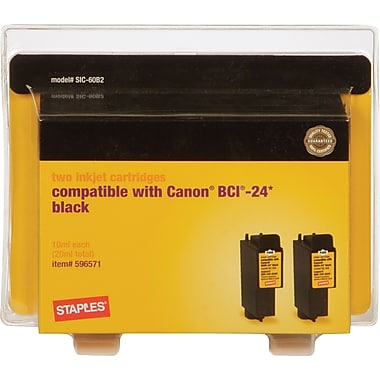 Staples® Black Ink Cartridges Compatible with Canon BCI-24, 2/Pack