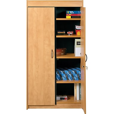 Star kraz locking storage cabinet candlelight oak staples - Armoire plastique de rangement ...