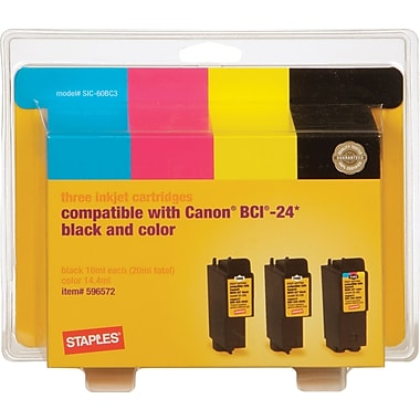 Staples® Remanufactured Ink Cartridges Compatible w/Canon® BCI-24, 3/Pack