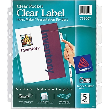 Avery® Index Maker® Clear Pocket Clear Label Tab Dividers, 5-Tab, Clear, 1 Set/Pack