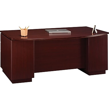 Bush Milano2 72in.W Double Pedestal Bow Front Desk (F/F, B/B/F), Harvest Cherry