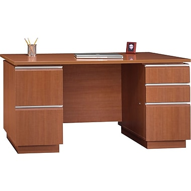 Bush Milano2 60in.W Double Pedestal Desk (F/F, B/B/F), Golden Anigre, Fully Assembled