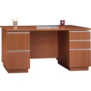 Bush Milano2 60W Double Pedestal Desk (F/F, B/B/F), Golden Anigre, Fully Assembled