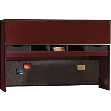 Bush Milano2 66in.W Credenza Hutch, Harvest Cherry, Fully Assembled