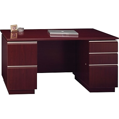 Bush Milano2 60in.W Double Pedestal Desk (F/F, B/B/F), Harvest Cherry, Fully Assembled