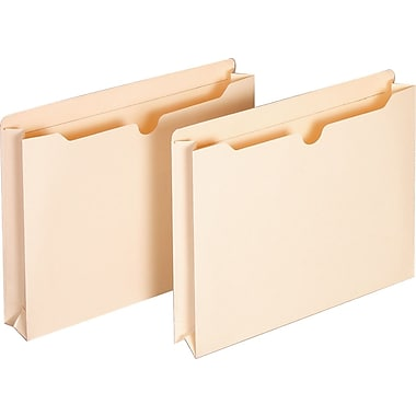 Staples® 100% Recycled File Jackets, Letter, 2in. Expansion, 12/Pack
