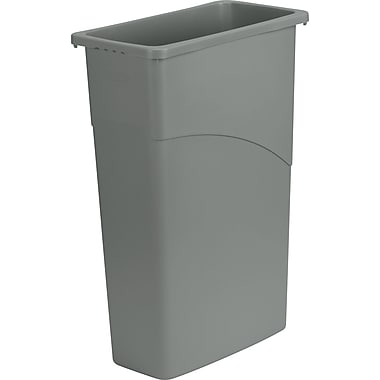 Rubbermaid Slim Jim Wastebasket, Gray, 23 gal.