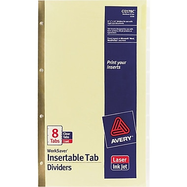 Avery WorkSaver® Insertable Tab Dividers, 8 1/2in. x 14in., 8-Tab, Clear