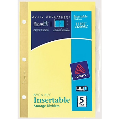 Avery® Worksaver® 5-1/2in. x 8-1/2in. Insertable Standard Tab Dividers, 5-Tab, 1 Set/Pack