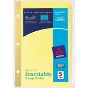 Avery® Worksaver® 5-1/2 x 8-1/2 Insertable Standard Tab Dividers, 5-Tab, 1 Set/Pack