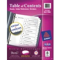 Avery® 8-Tab Ready Index® Classic Black & White Table of Contents Dividers