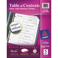 Avery® Ready Index® Classic Black & White Table of Contents Dividers