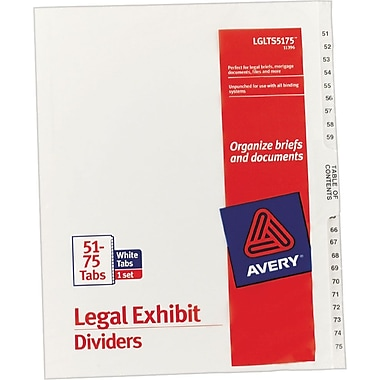 Avery® Legal Exhibit Dividers, 51-75