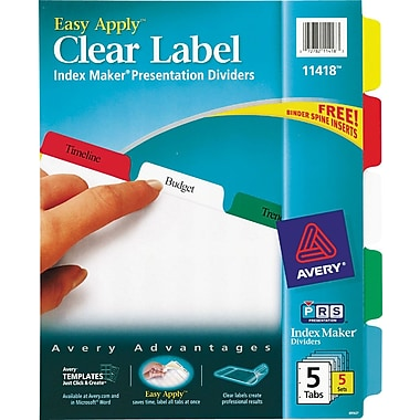 Avery Index Maker Clear Label Tab Dividers, 5-Tab, Multicolor, 5 Sets/Pack