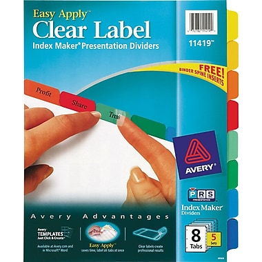 Avery Index Maker Clear Label Tab Dividers, 8-Tab, Multicolor, 5 Sets/Pack